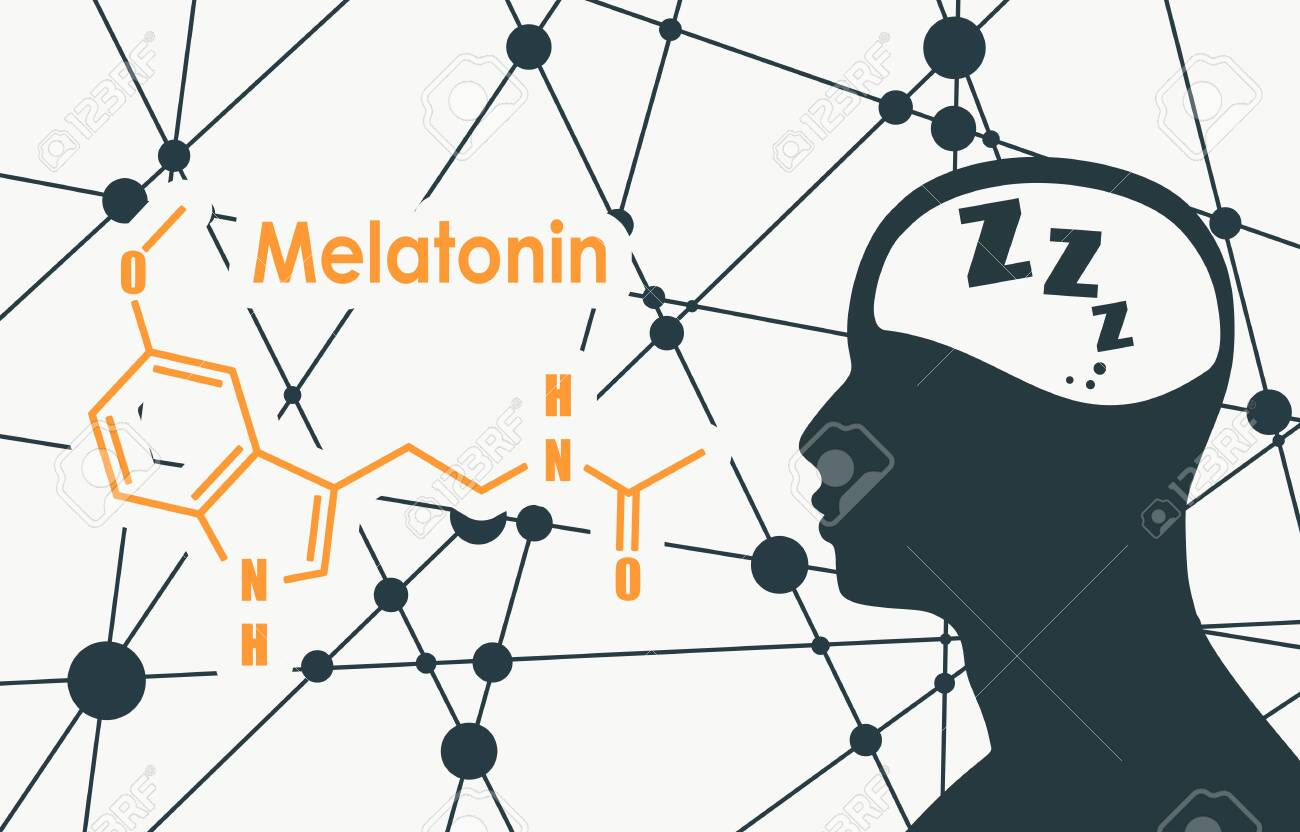 Melatonin hormone chemical molecular formula. Circadian rhythm synchronization. Stylized conventional skeletal formula. Connected lines with dots background. Silhouette of a man head - 133088939