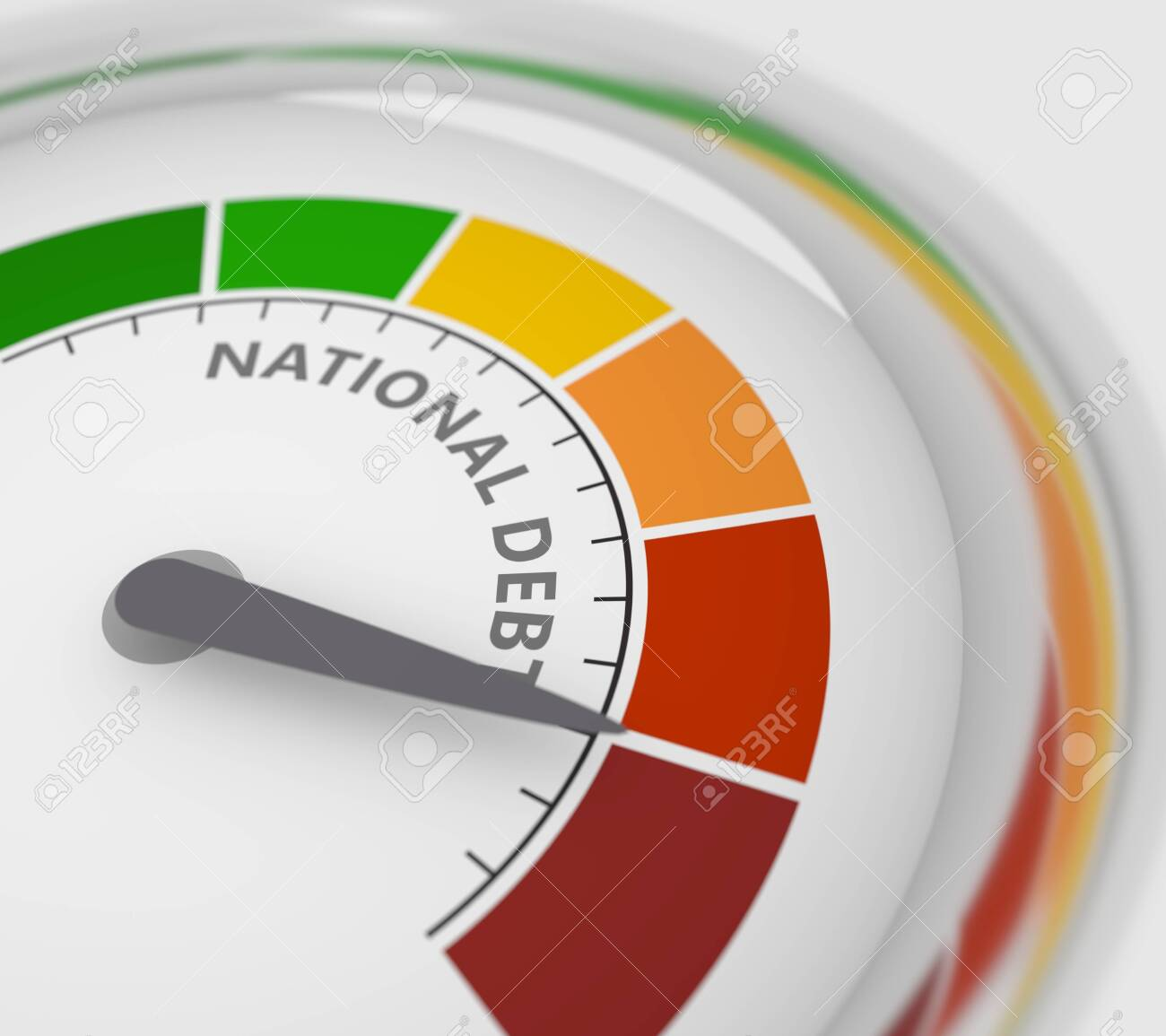 Cholesterol meter read high level of national debt result. Color scale with arrow from red to green. The measuring device icon. Colorful infographic gauge element. 3D rendering - 135058957