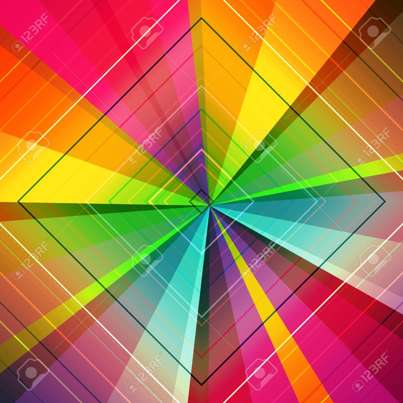 Radiating, converging lines, rays multi color background. Star burst, sunburst abstract backdrop - 134177314