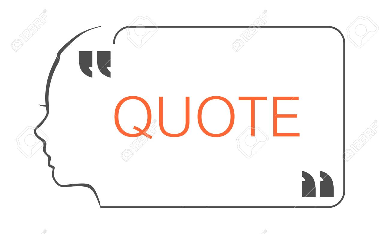 Quote blank with text bubble with woman face outline silhouette and commas. Template for note, message, comment. Dialog box. - 141097827