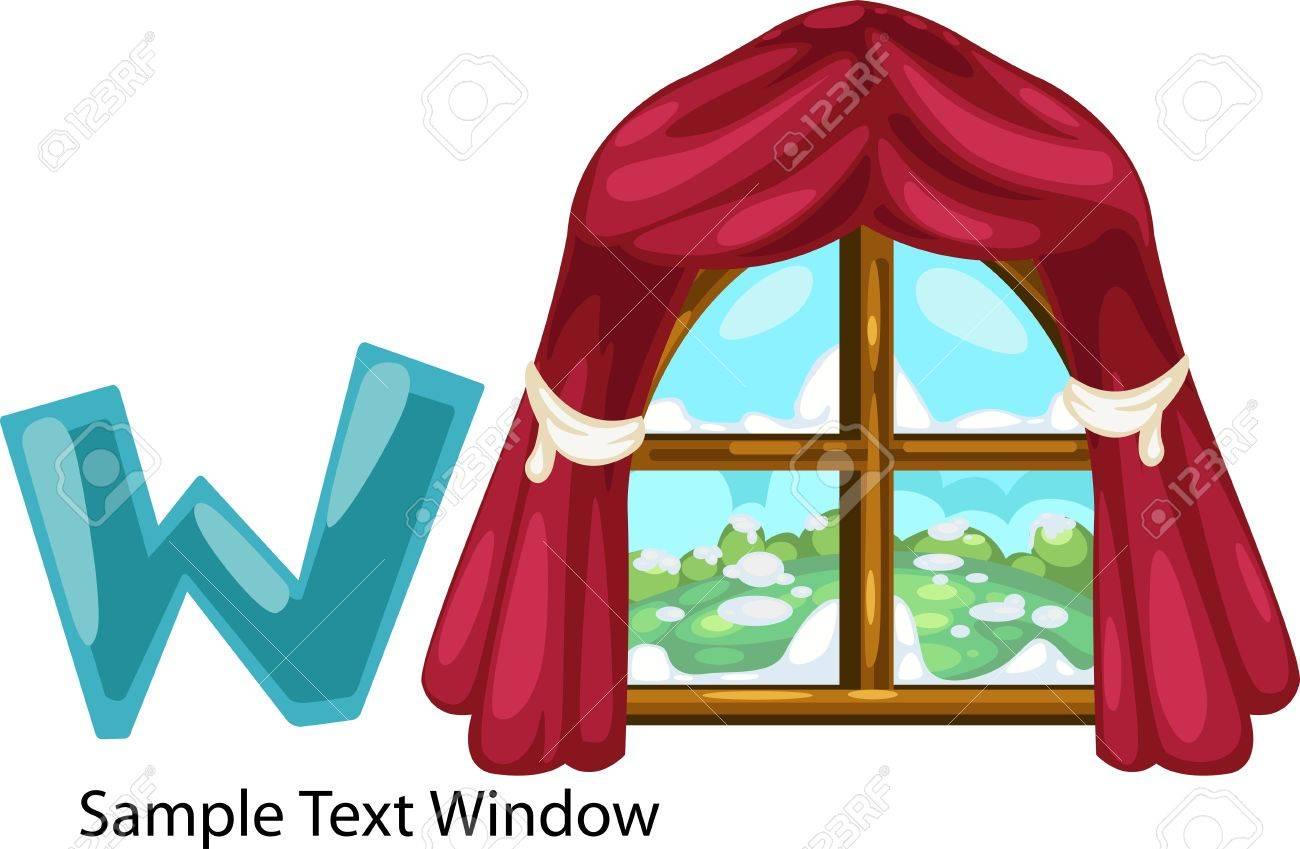illustration isolated ALPHABET LETTER W-Window Stock Vector - 12216234