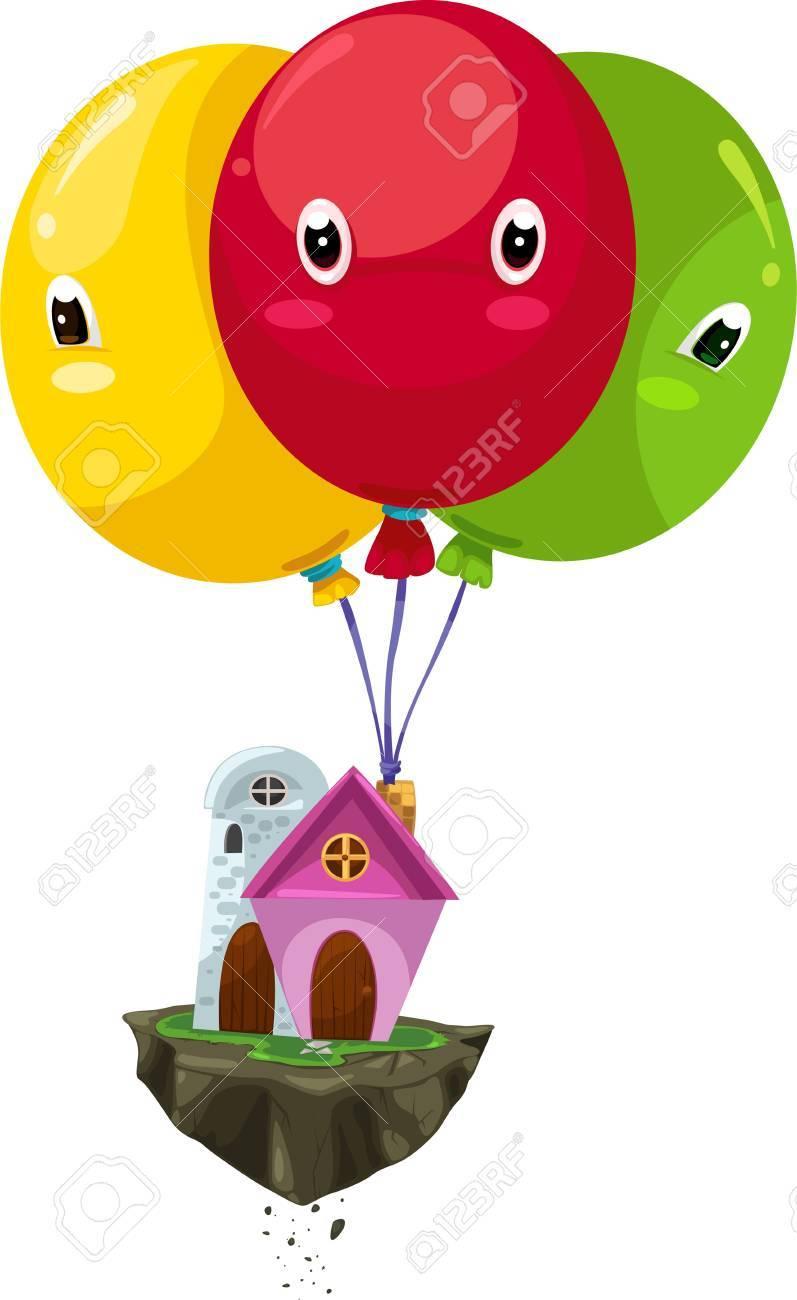 Illustration flying balloon house Stock Vector - 12216504