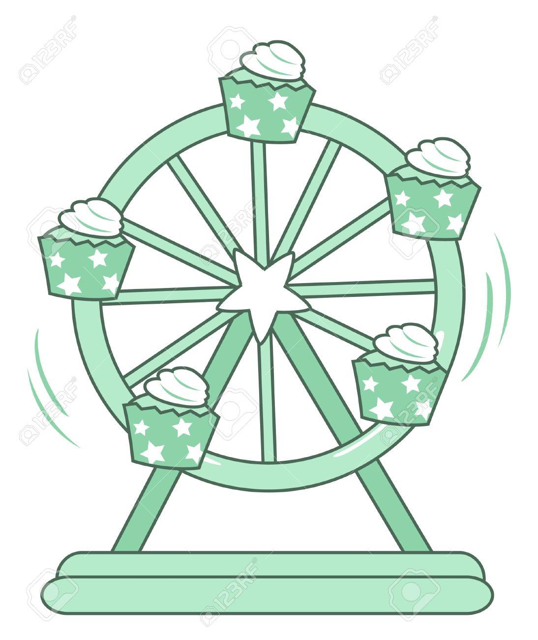 Ilustración Cupcake Rueda De La Fortuna De Aislados En Fondo Blanco ...
