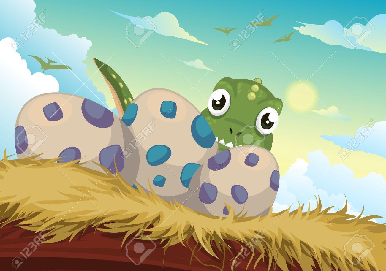 Beautiful Cartoon dinosaur and egg vector Stock Vector - 14686955