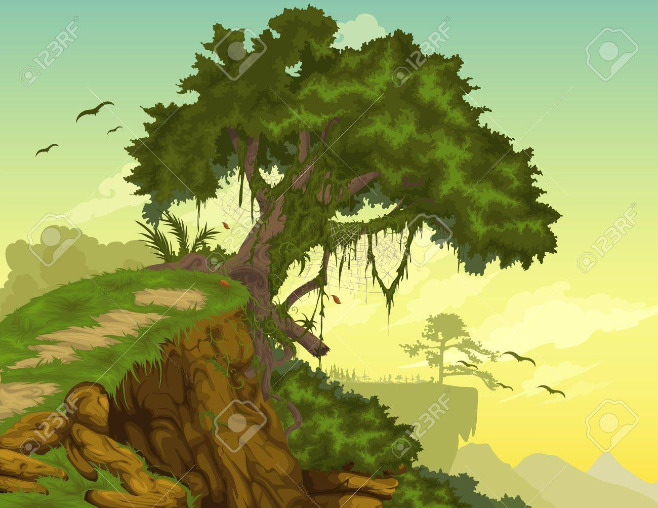 Beautiful mountainous background with tree Stock Vector - 14687009