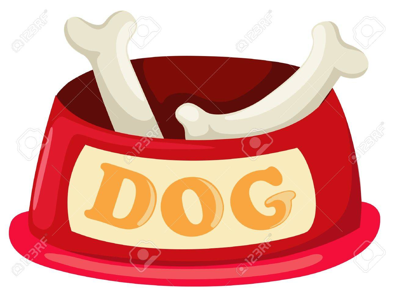 illustration of isolated dog bowl with big bone vector Stock Vector - 17623527
