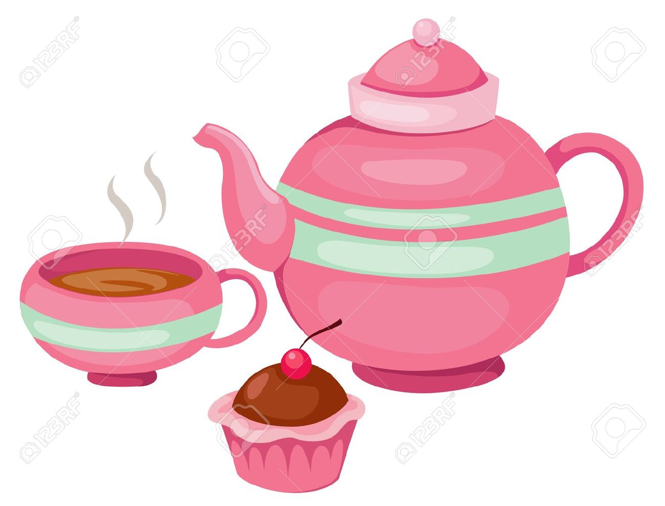 Illustration Of Isolated Tea Pot Set Vector Royalty Free Cliparts