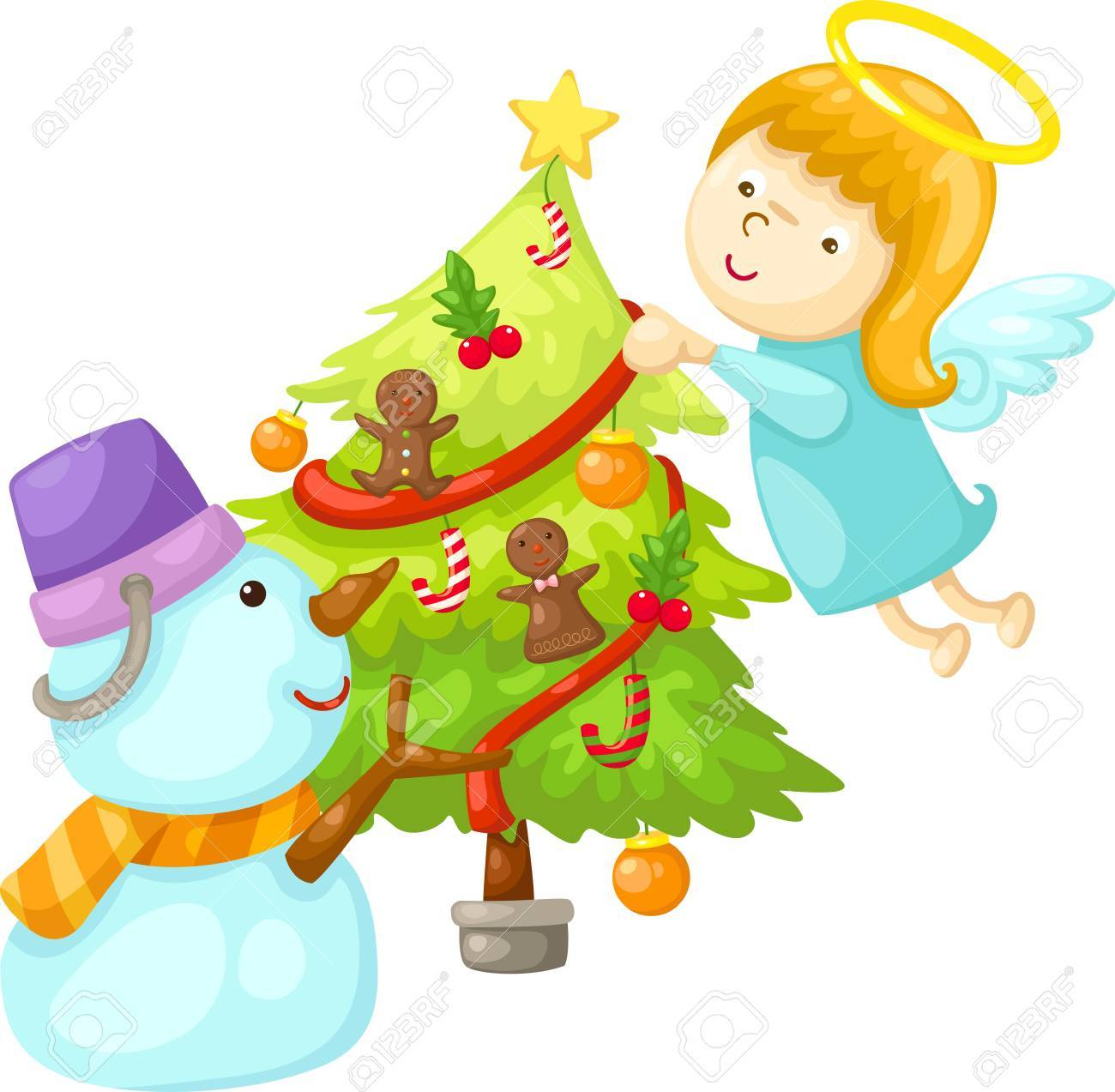 snowman with angel tree christmas  Vector illustration  on white background Stock Vector - 17623497