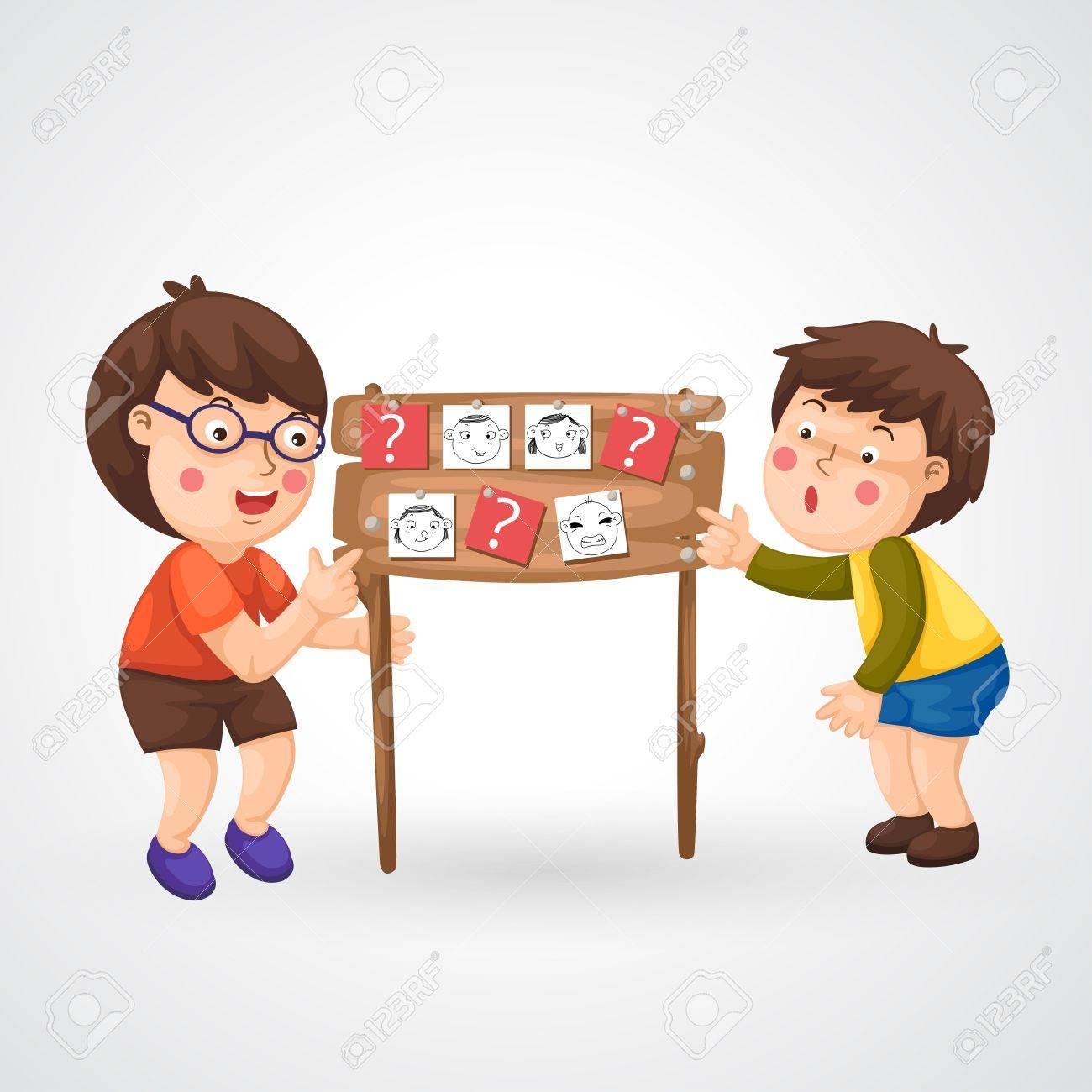 illustration of isolated children doing homework vector Stock Vector - 20847757