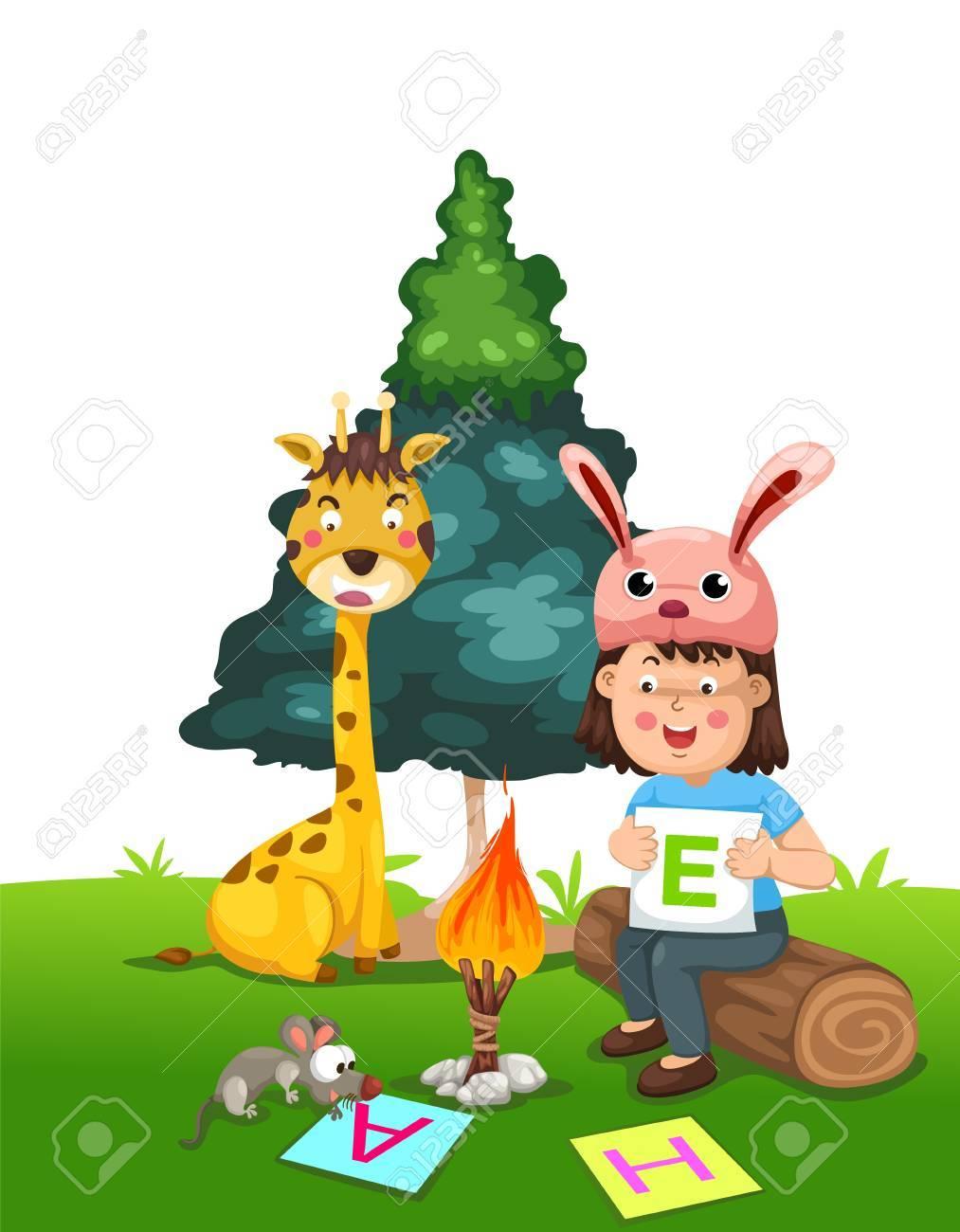 illustration of isolated children doing homework vector Stock Vector - 20866194
