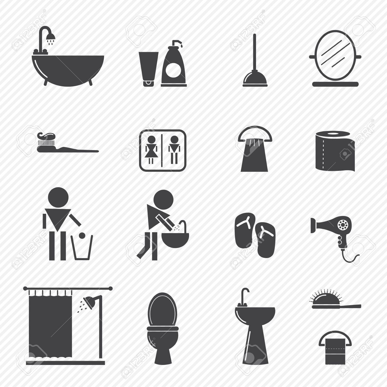 Bathroom icons isolated on white background Stock Vector - 22713233
