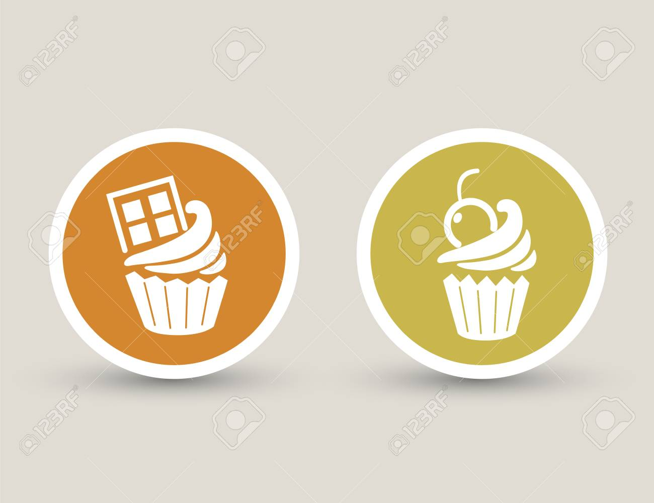 cupcake icons Stock Vector - 23893082