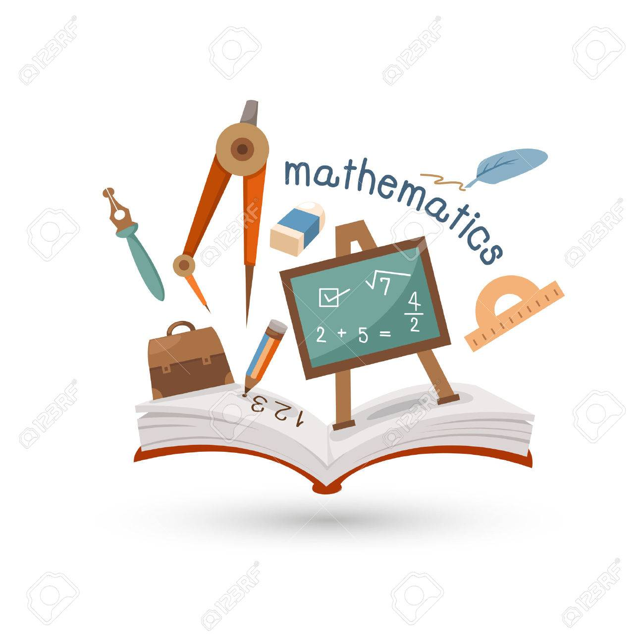 Open book and icons of mathematics  Concept of education Stock Vector - 25221238