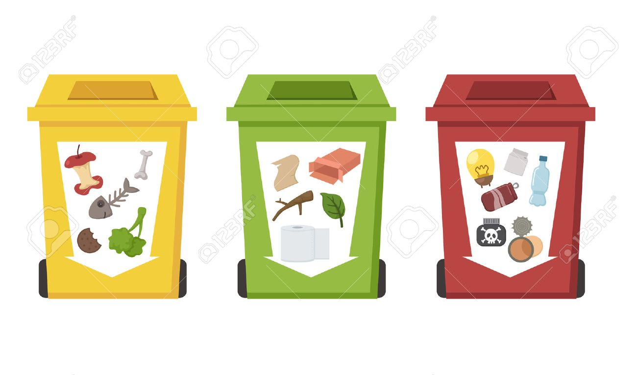 Different Color Recycle Bins Stock Vector
