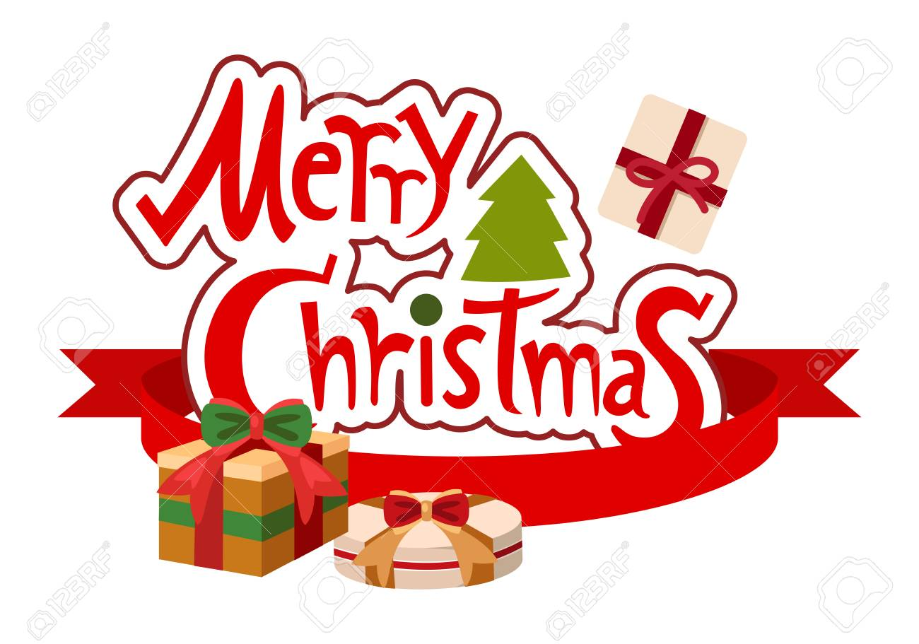 illustration of merry christmas typography - 31540789