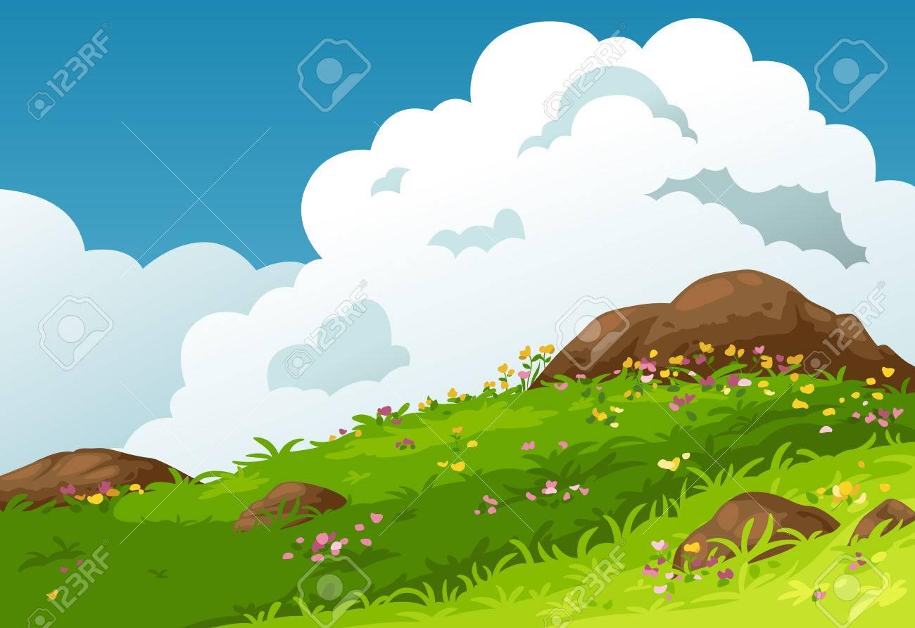 山の風景の背景のベクトルのイラストのイラスト素材ベクタ Image