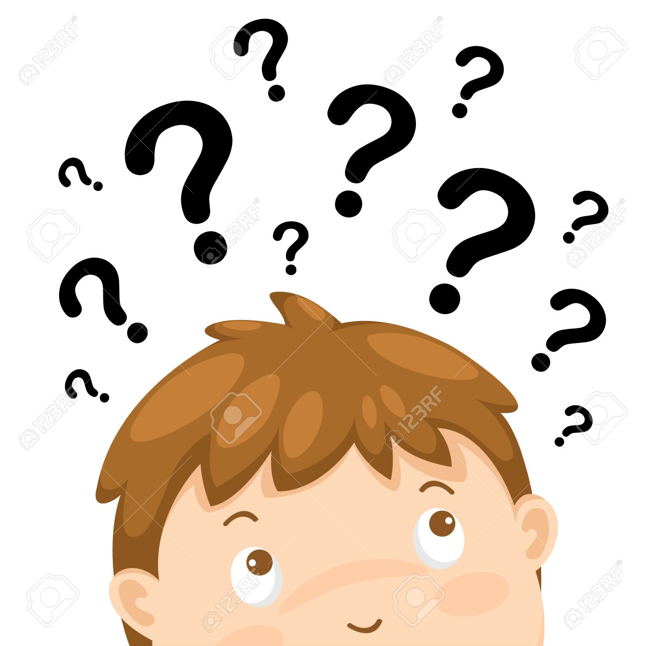 Illustration Of Boy Thinking With Question Marks Vector Stock