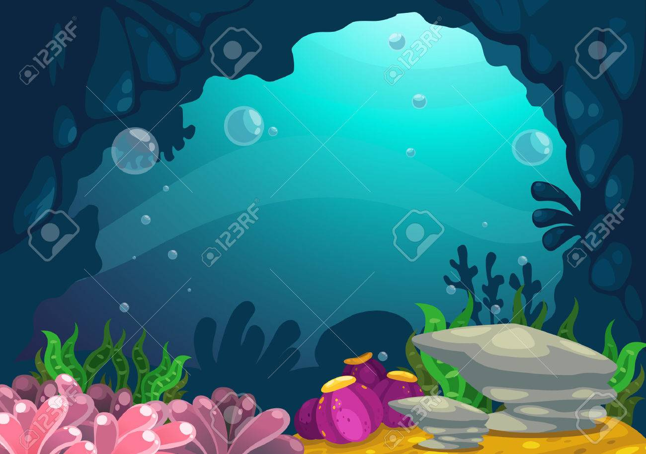 illustration of under the sea background vector royalty free