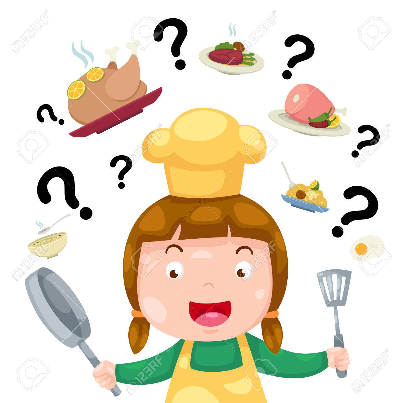 Illustration Of Woman Thinking What To Cook Vector Royalty Free
