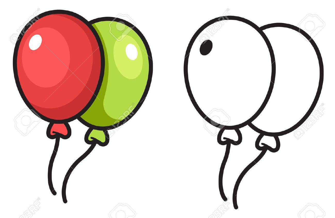 Ballon Pour Coloriage.Illustration De Isole Ballon Colore Et Noir Et Blanc Pour Livre De Coloriage Vecteur