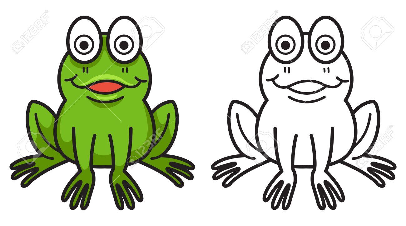 Illustration Isoliert Bunte Und Schwarz-Weiß-Frosch Für Malbuch ...