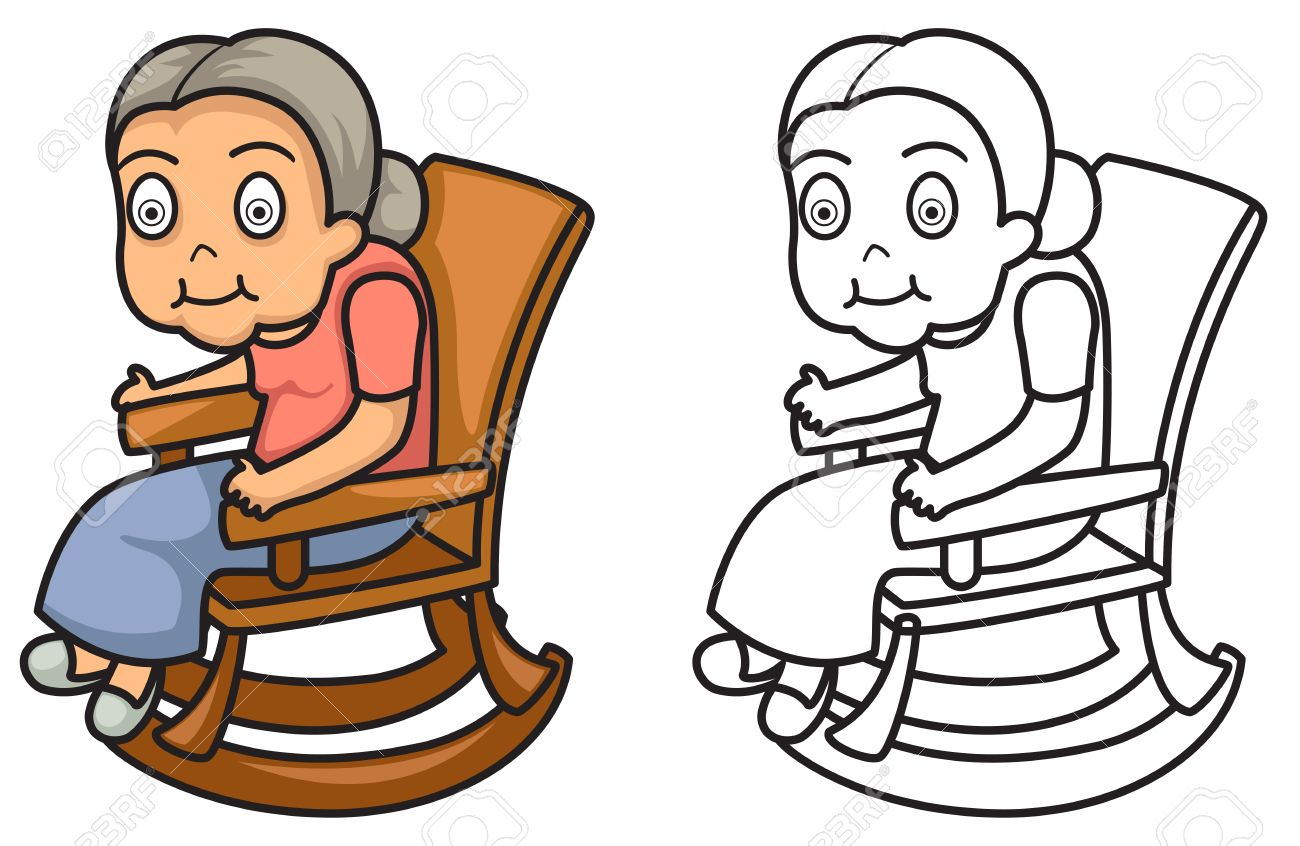 illustration of isolated colorful and black and white grandmother rh 123rf com grandparents day black and white clipart
