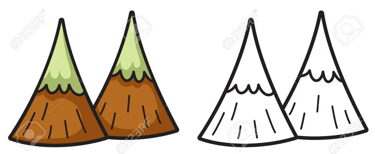 Ilustración De Carácter Aislado De Montaña Colorido Y Blanco Y Negro ...