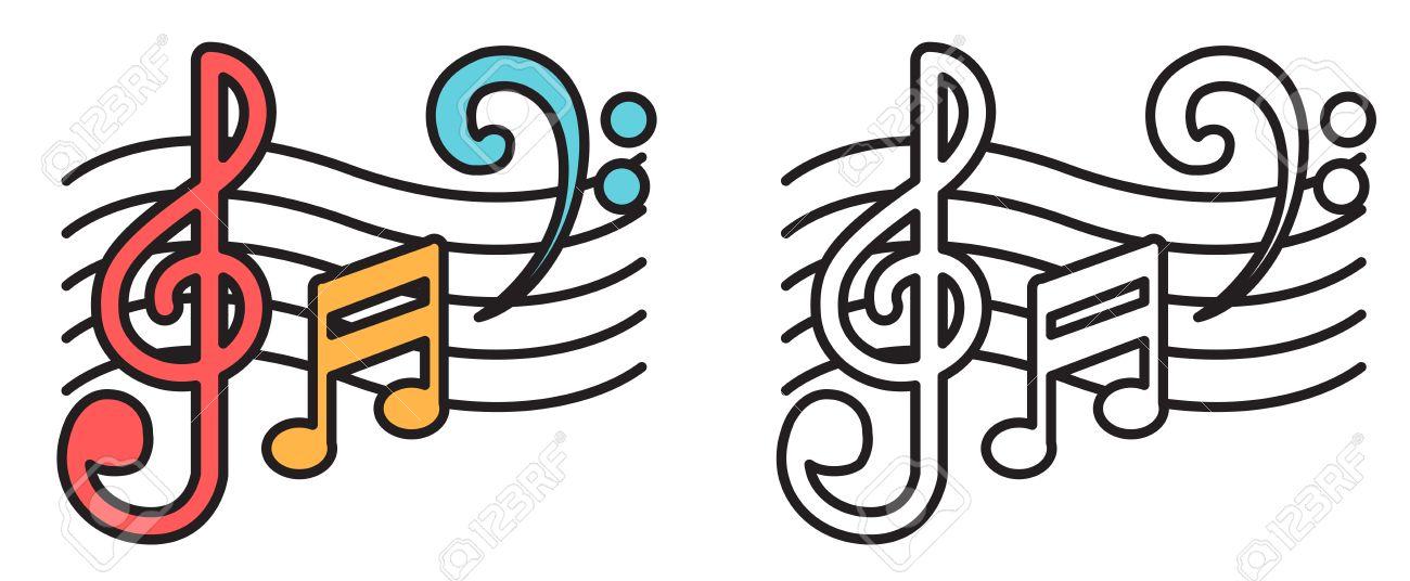 Ilustración De Colores Aislados Y Blanco Y Negro Notas Musicales