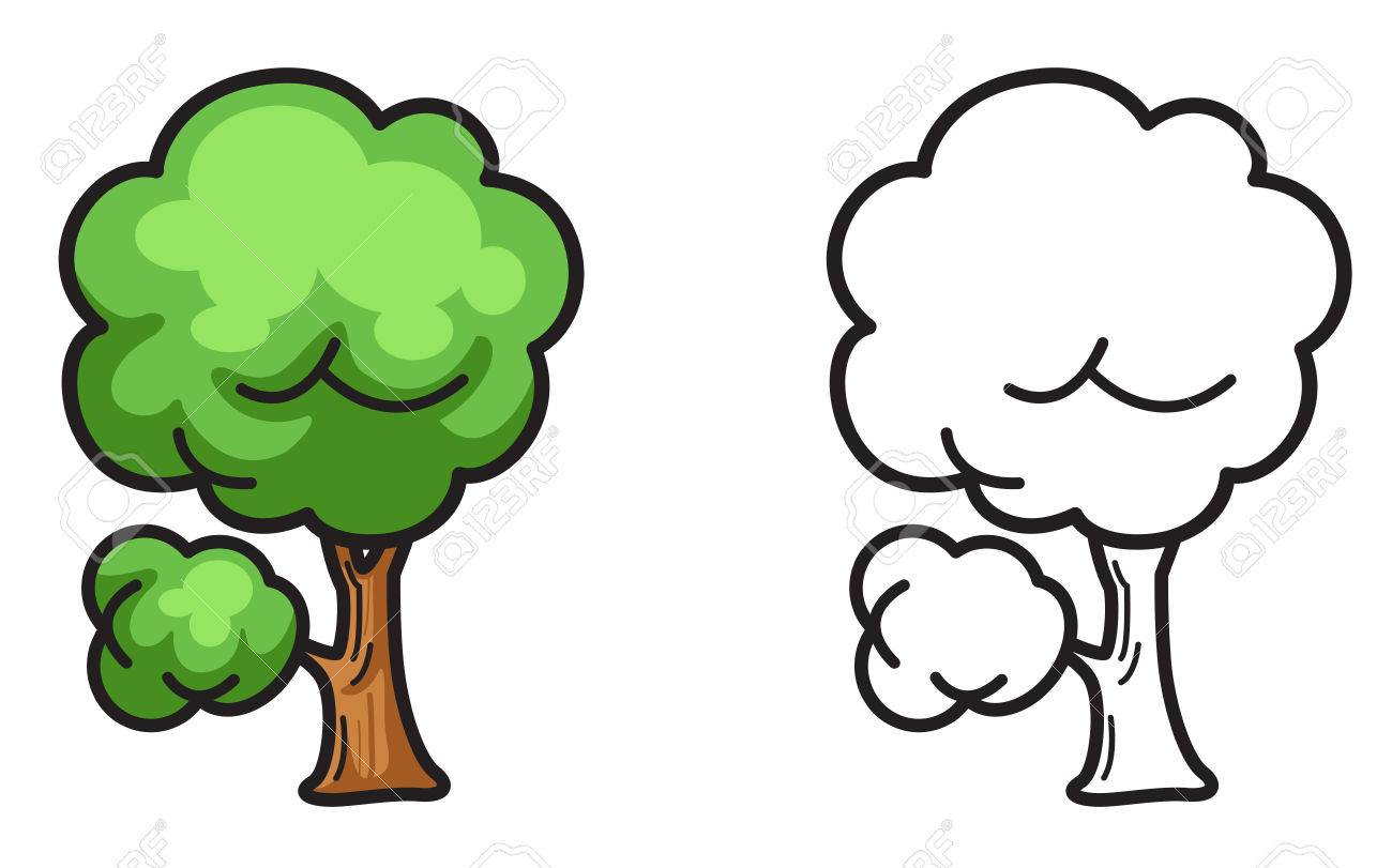 Illustration Of Isolated Colorful And Black And White Tree For ...