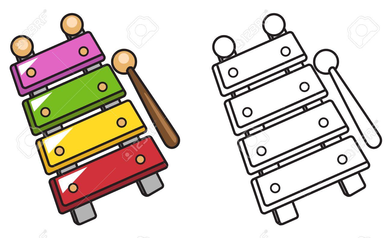 Ilustración De Xilófono Colorido Y Negro Y Blanco Aisladas De Libro Para Colorear