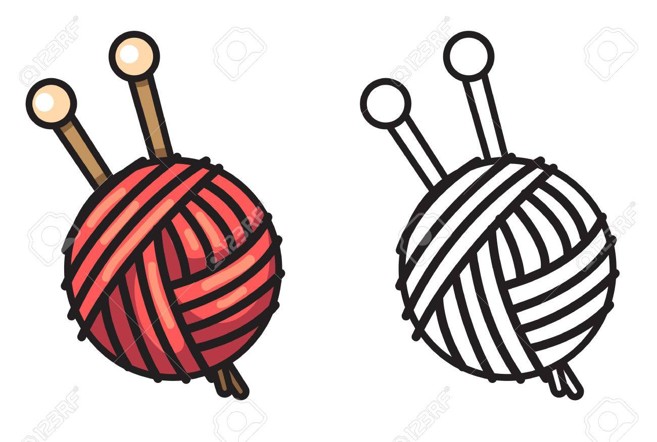 illustration of isolated colorful and black and white yarn for..