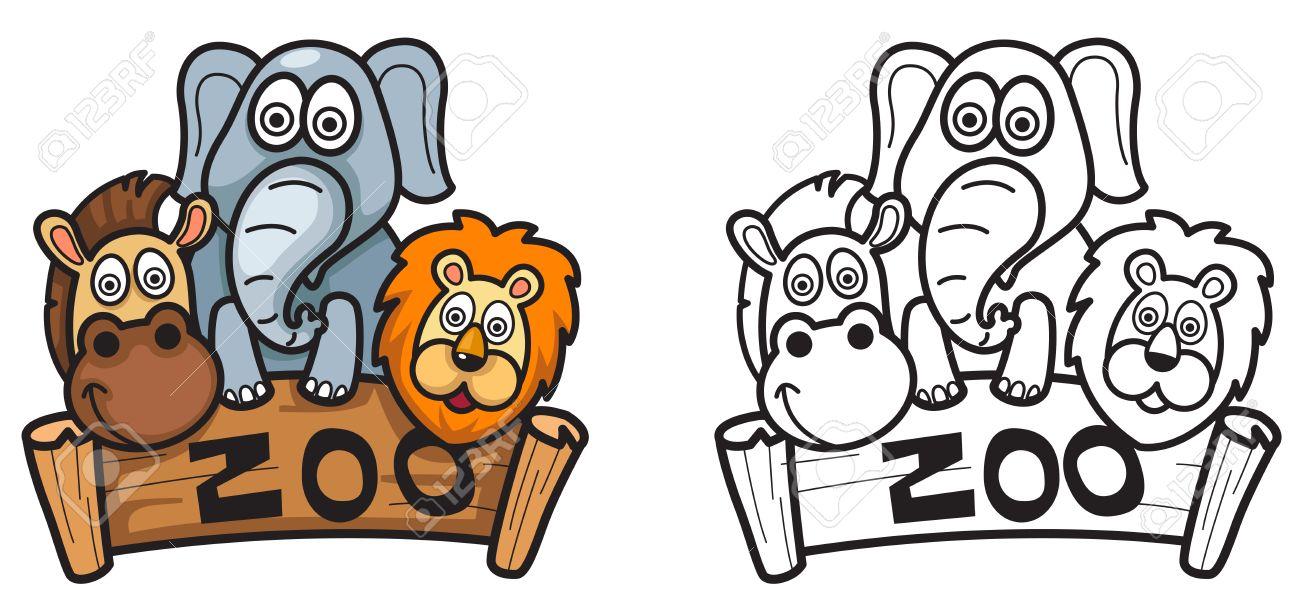 Ilustración De Zoológico Colorido Y Negro Y Blanco Aisladas De Libro ...