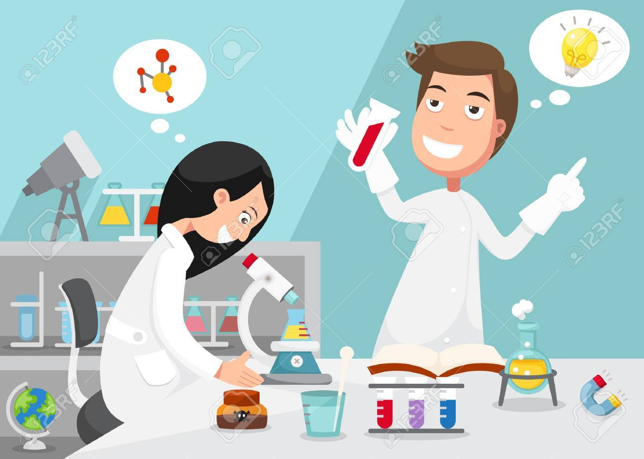 Scientists doing experiment surrounded by lab equipment . - 38628761