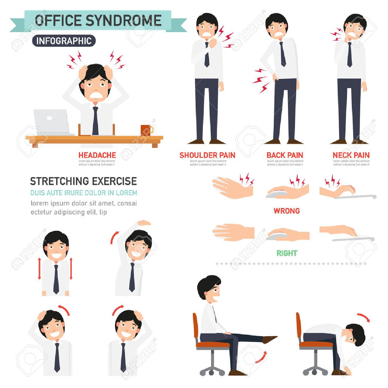 office syndrome infographic,vector illustration - 43129474
