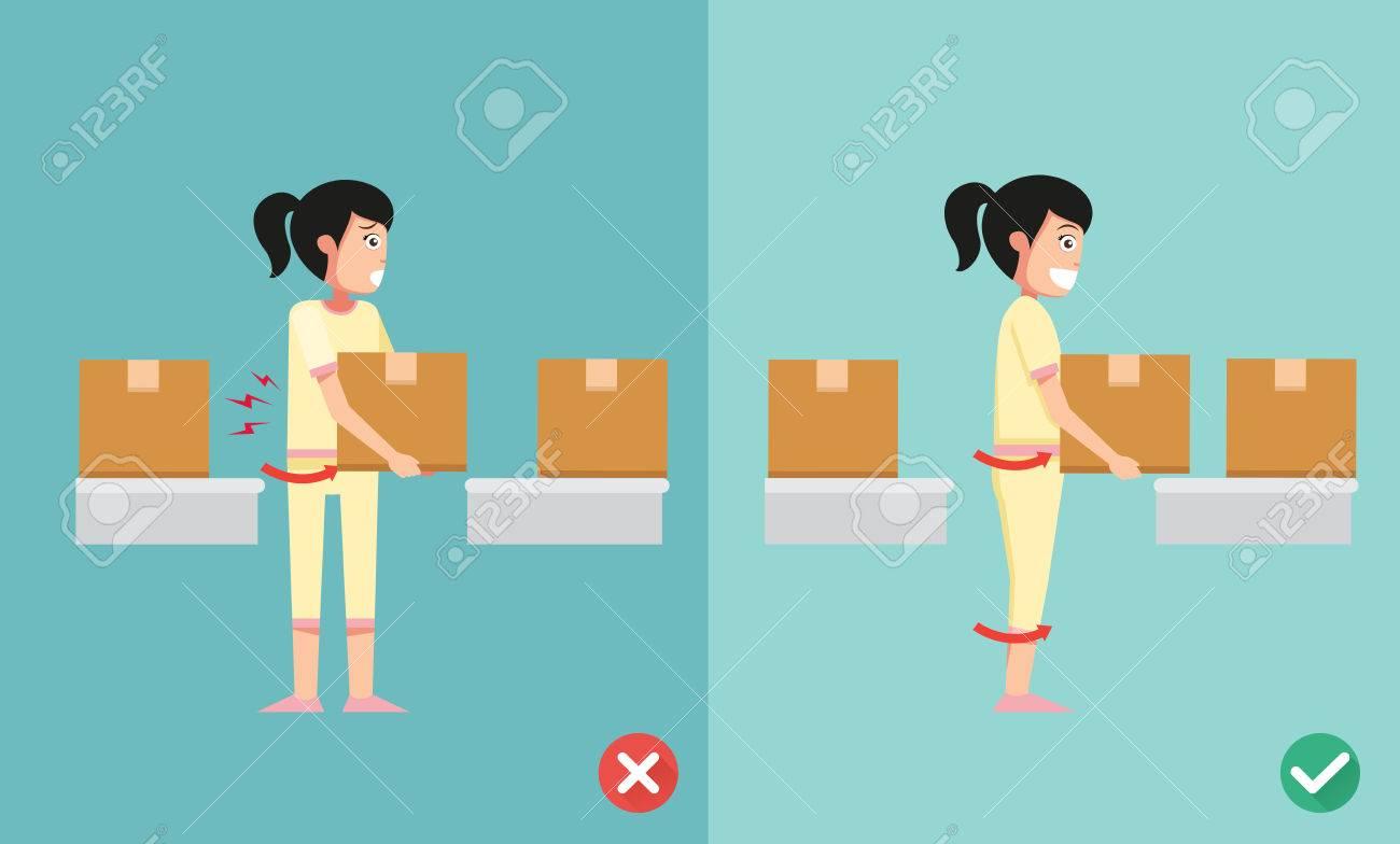 Improper versus against proper lifting ,illustration,vector - 49110405