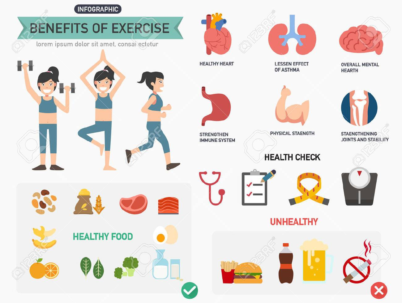 Benefits of exercise infographics.vector illustration. - 53171997