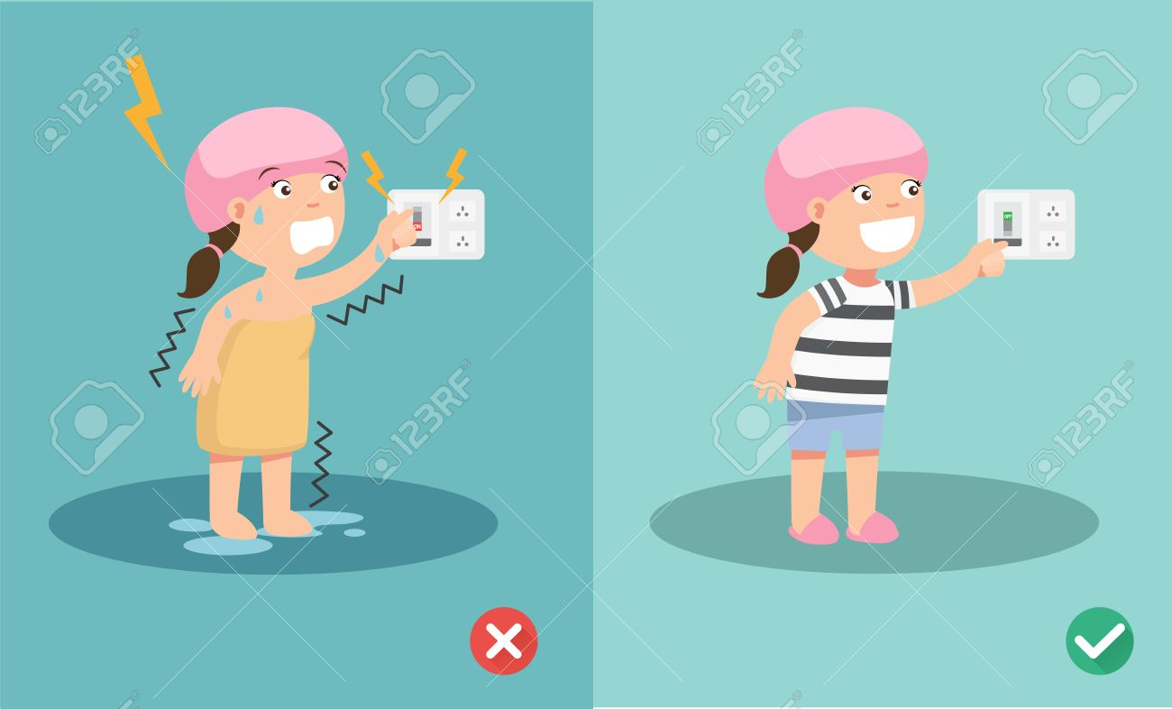 wrong and right for safety electric shock risk. vector illustration. - 53172003