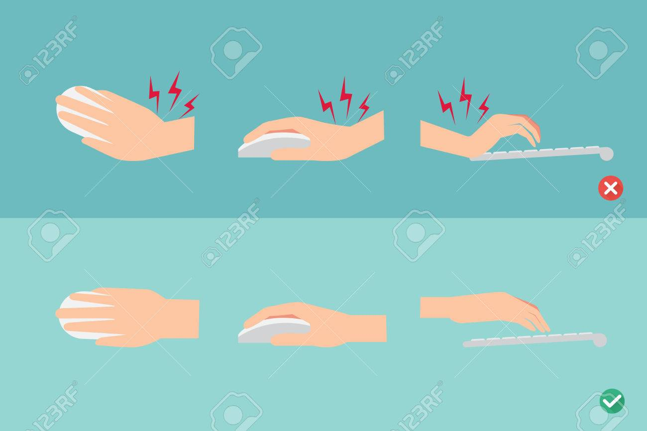 wrong and right ways for hand position in use keyboard and mouse illustration - 56409098