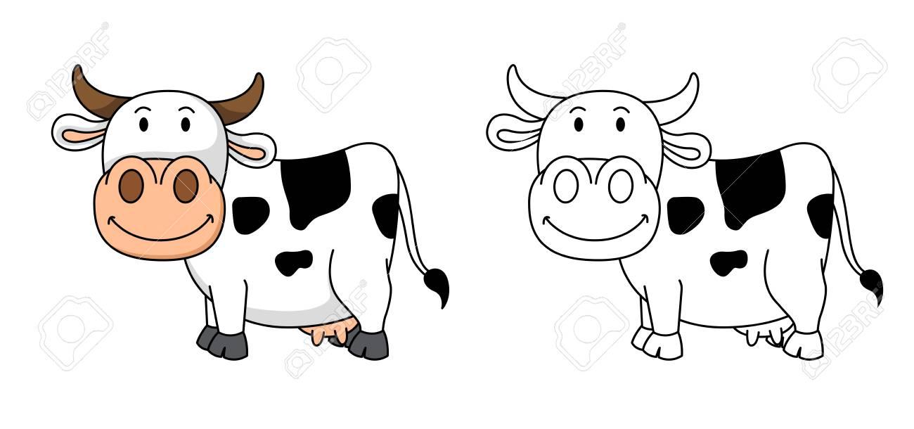Ilustración Del Libro De Colorear Educativo Vector-vaca ...