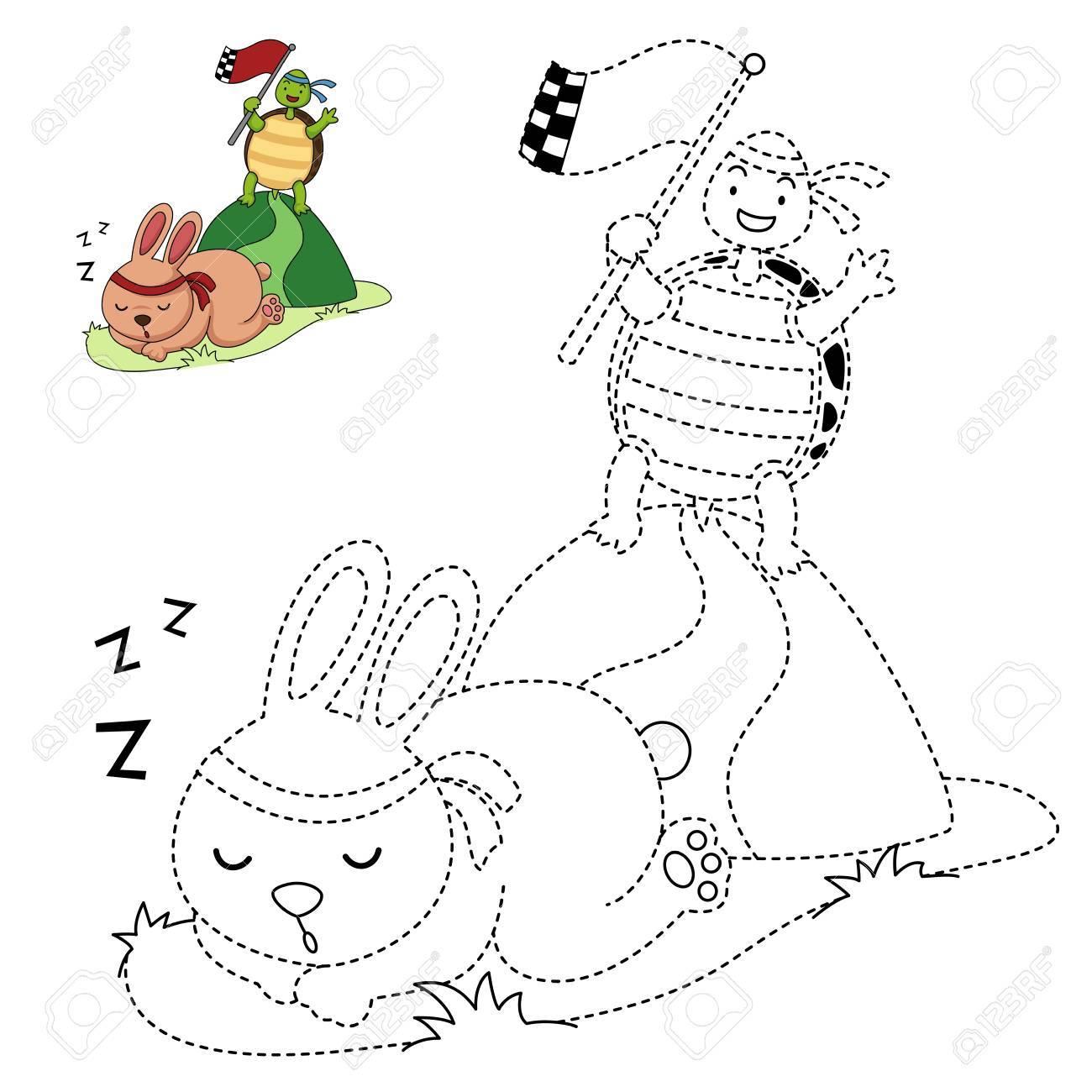 Illustration Von Lernspiel Für Kinder Und Malbuch Vektor-Schildkröte ...