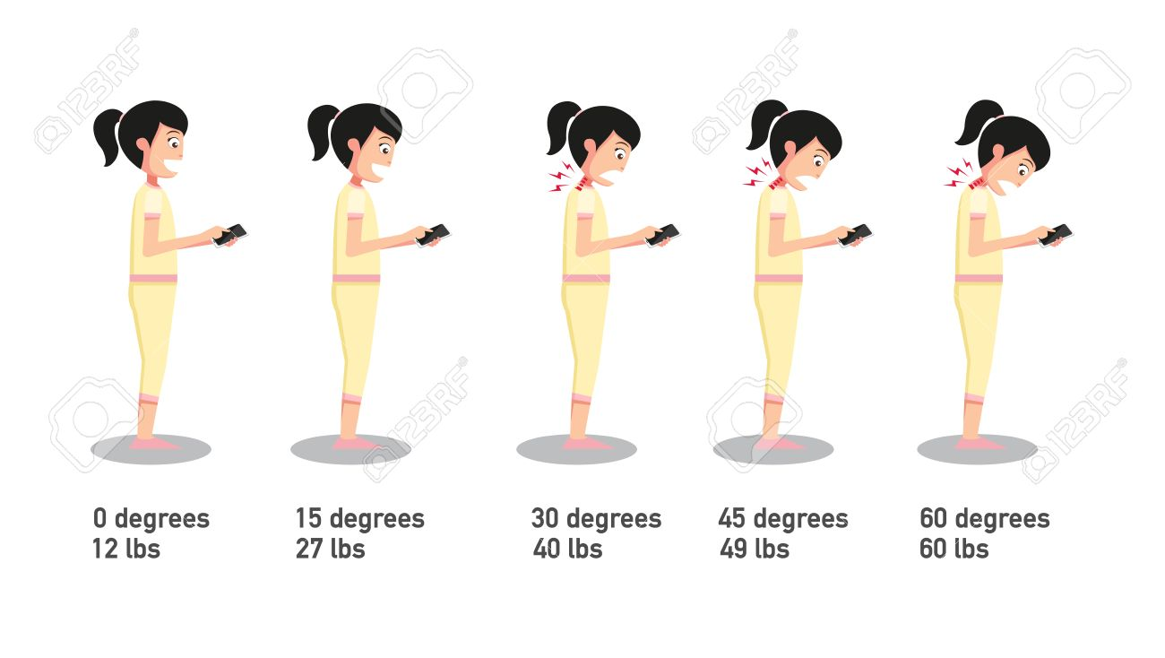 The bad smartphone postures,the angle of bending head related to the pressure on the spine.vector illustration. - 59982758