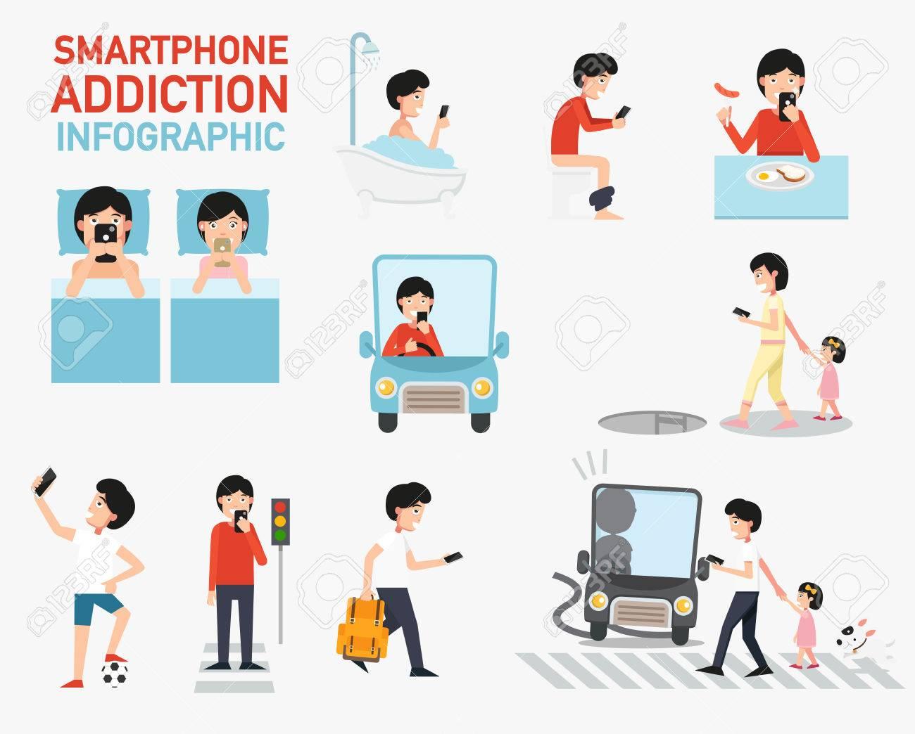 Smartphone addiction infographic vector illustration