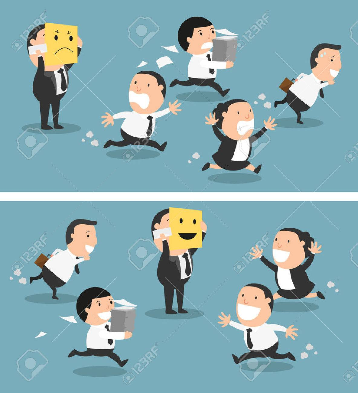 Boss changing his mood from bad to good,vector illustration - 59982765
