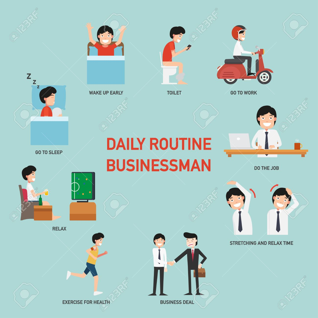 daily routine business people infographic vector illustration