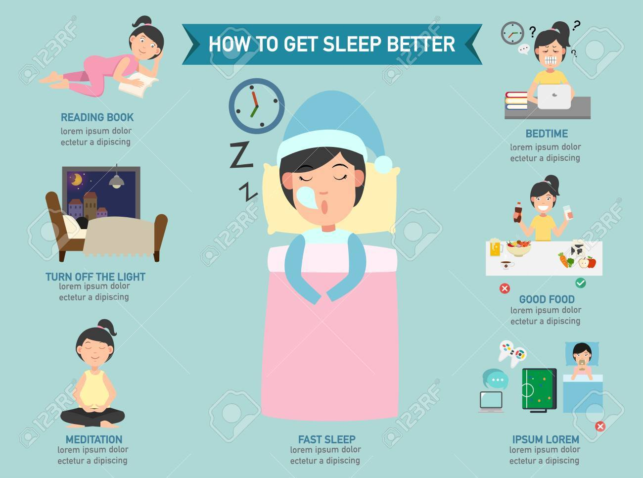 How to get sleep better infographic,vector illustration - 67944314