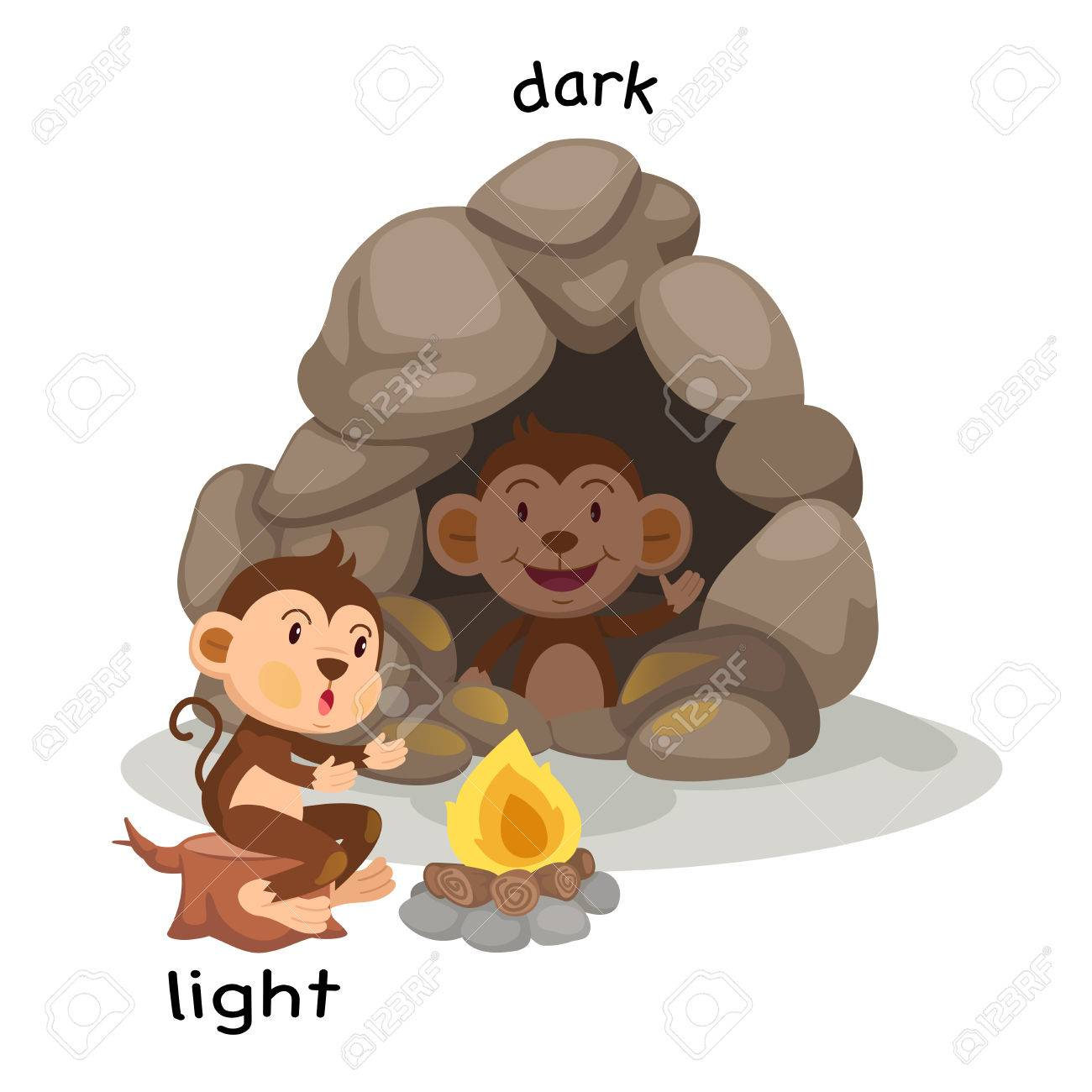 Opposite Light And Dark Vector Illustration Stock