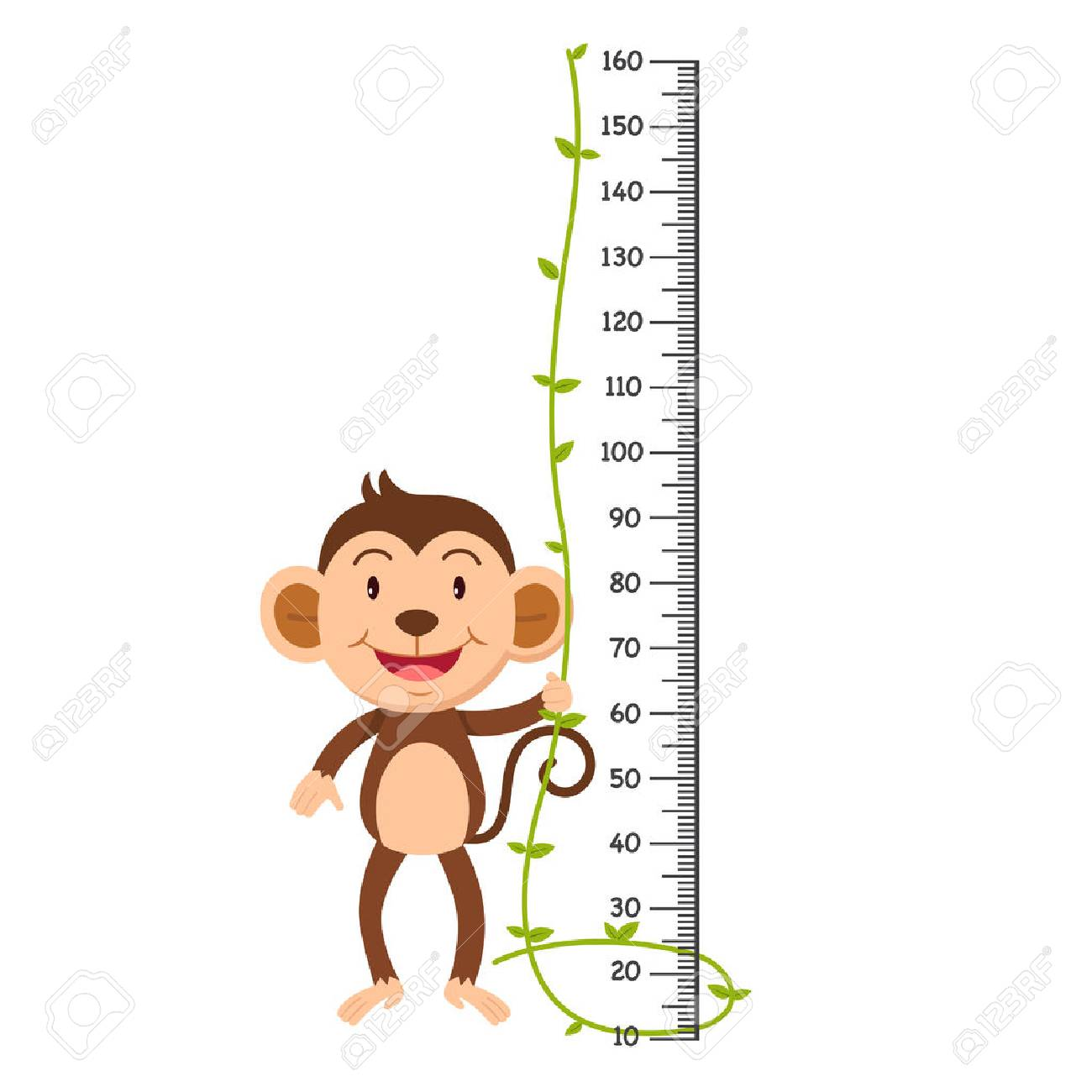 Meter wall with monkey. Vector illustration. - 83657454