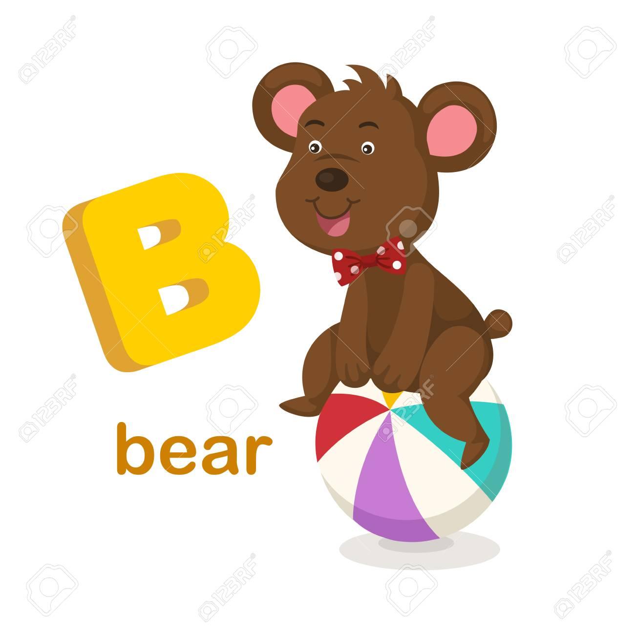 Ilustración Aislada Alfabeto Letra B Bear.vector Ilustraciones ...