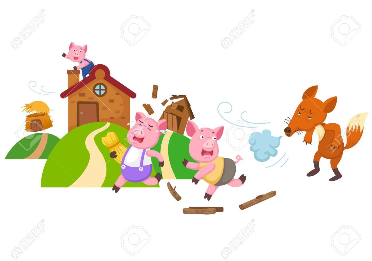 Illustration of isolated fairy tale three little pigs vector. - 93945022