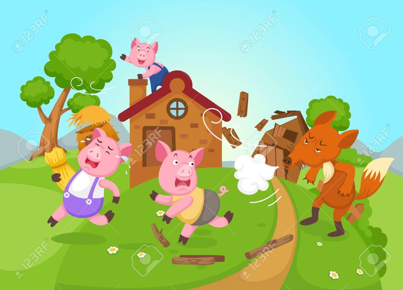 illustration of isolated fairy tale three little pigs vector - 98613306